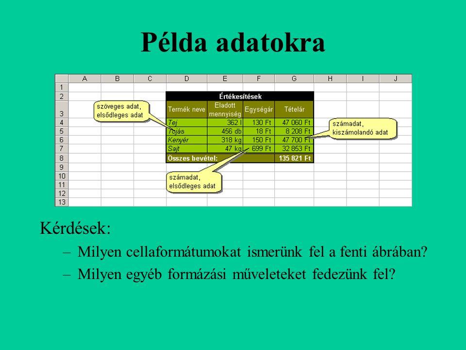 MA, NAP360 függvény MA függvény: –aktuális rendszerdátumot adja –nincs argumentuma NAP360 függvény: –Két dátum közötti napok számát adja eredményül, 360 napos évet (tizenkét 30 napos hónap) véve alapul, ami bizonyos könyvelési számításoknál használatos.