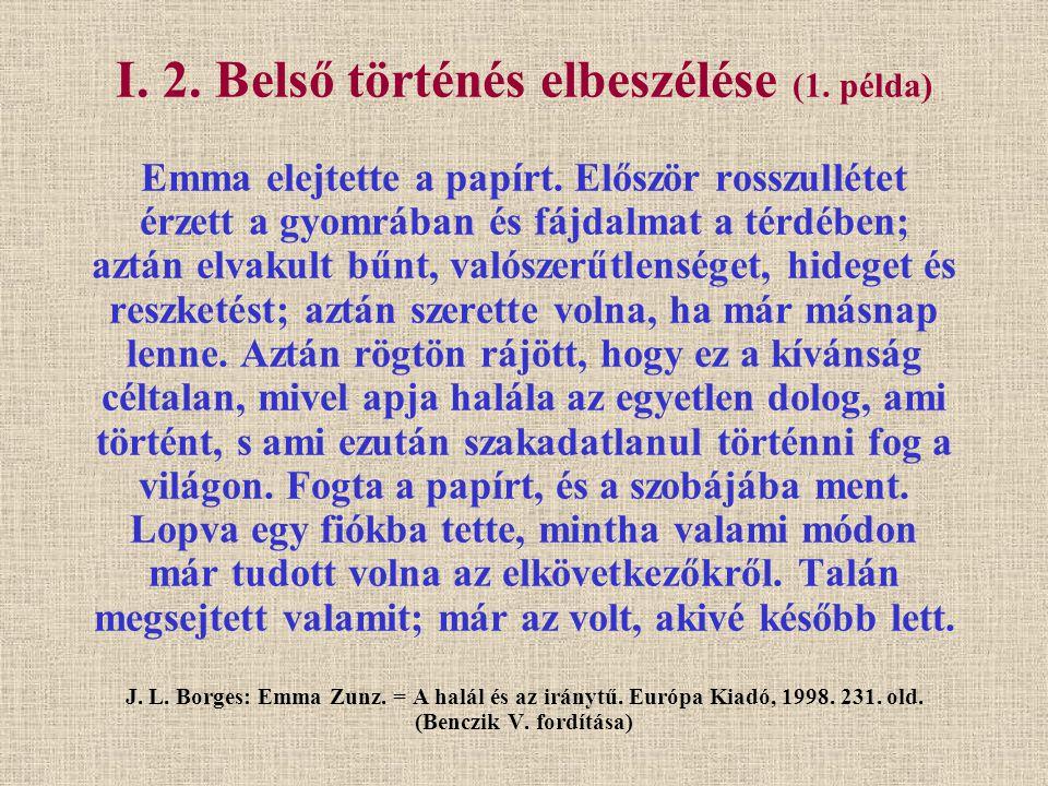 I. 2. Belső történés elbeszélése (1. példa) Emma elejtette a papírt. Először rosszullétet érzett a gyomrában és fájdalmat a térdében; aztán elvakult b