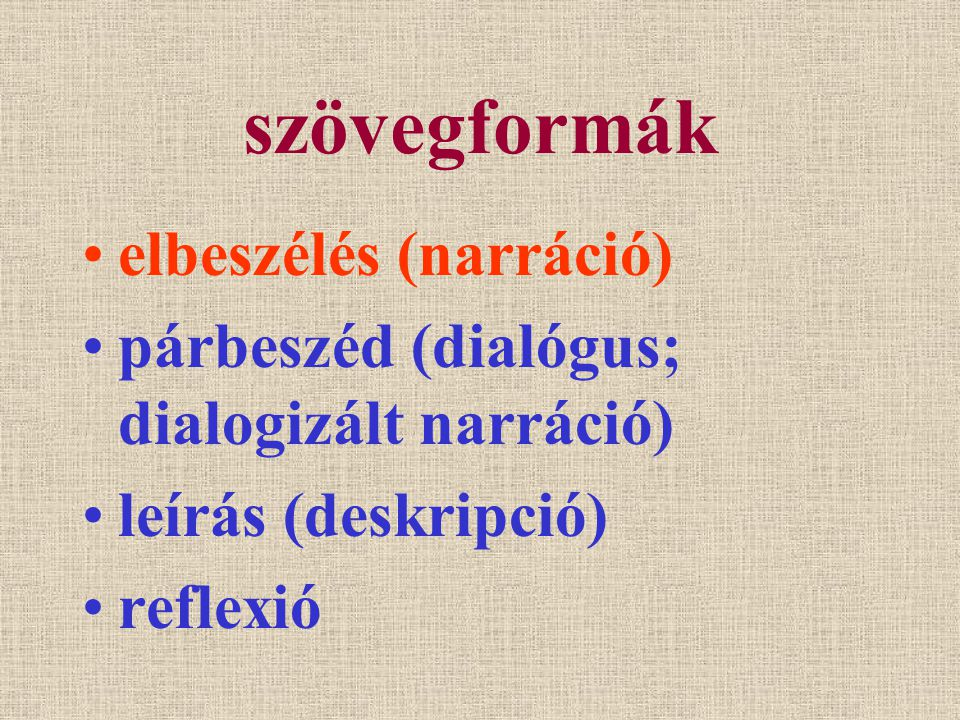 szövegformák elbeszélés (narráció) párbeszéd (dialógus; dialogizált narráció) leírás (deskripció) reflexió