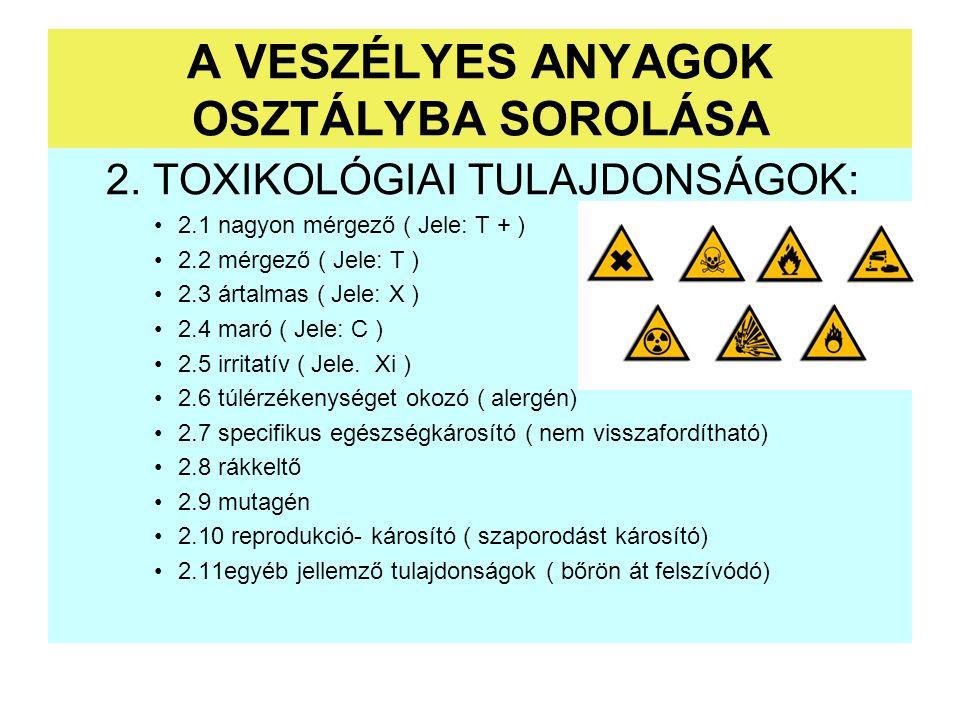 2. TOXIKOLÓGIAI TULAJDONSÁGOK: 2.1 nagyon mérgező ( Jele: T + ) 2.2 mérgező ( Jele: T ) 2.3 ártalmas ( Jele: X ) 2.4 maró ( Jele: C ) 2.5 irritatív (