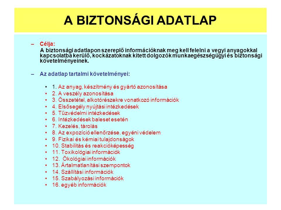 A BIZTONSÁGI ADATLAP –Célja: A biztonsági adatlapon szereplő információknak meg kell felelni a vegyi anyagokkal kapcsolatba kerülő, kockázatoknak kite
