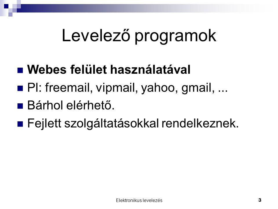 Elektronikus levelezés 3 Levelező programok Webes felület használatával Pl: freemail, vipmail, yahoo, gmail,...