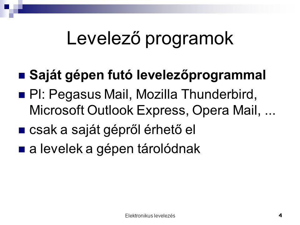 Elektronikus levelezés 4 Levelező programok Saját gépen futó levelezőprogrammal Pl: Pegasus Mail, Mozilla Thunderbird, Microsoft Outlook Express, Opera Mail,...
