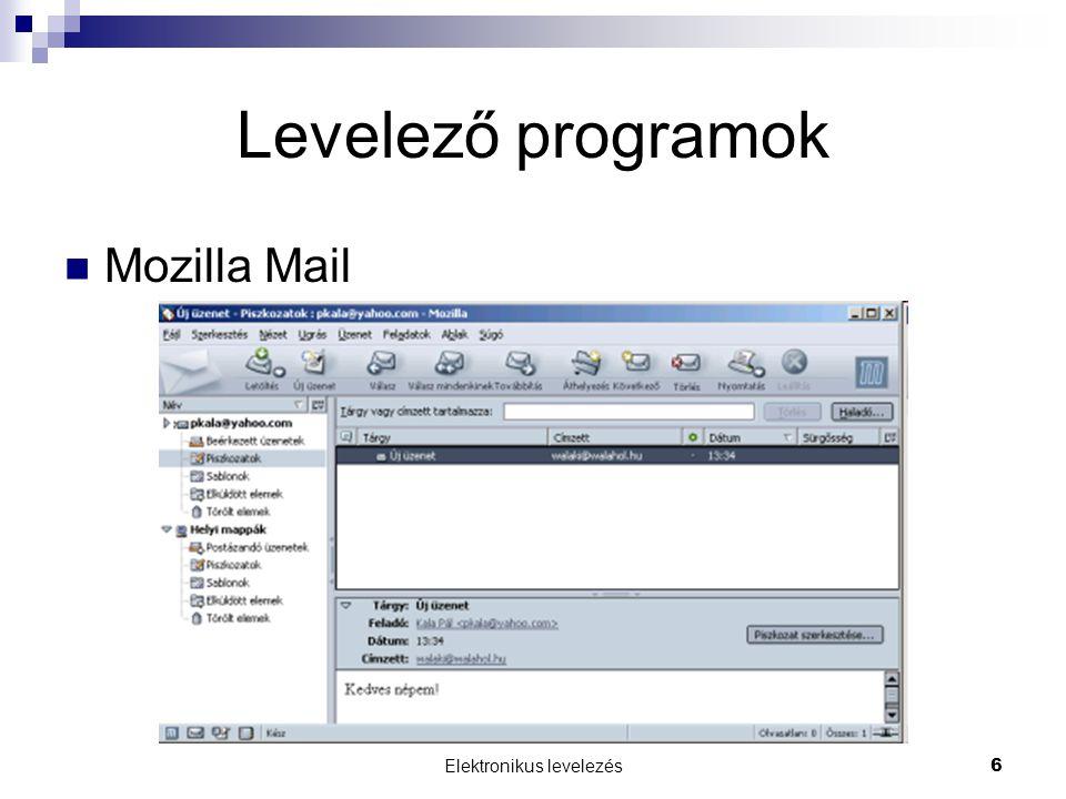 Elektronikus levelezés 6 Levelező programok Mozilla Mail