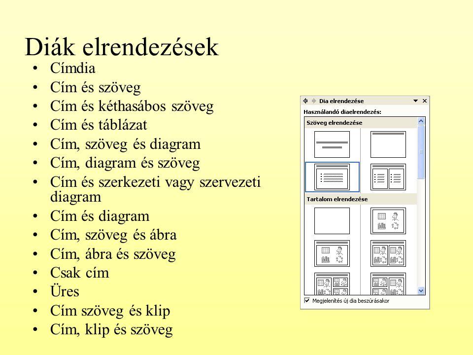 Diák elrendezések Címdia Cím és szöveg Cím és kéthasábos szöveg Cím és táblázat Cím, szöveg és diagram Cím, diagram és szöveg Cím és szerkezeti vagy s