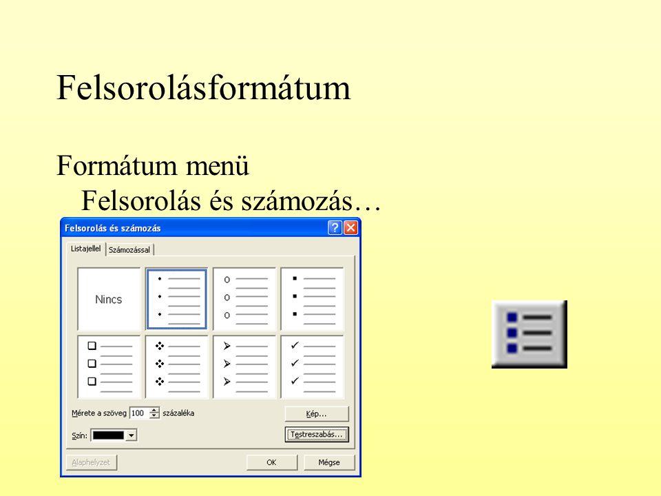Felsorolásformátum Formátum menü Felsorolás és számozás…
