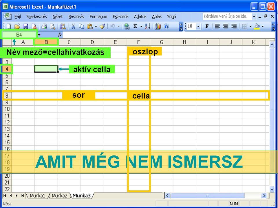 AMIT MÉG NEM ISMERSZ sor oszlop cella aktív cella Név mező=cellahivatkozás