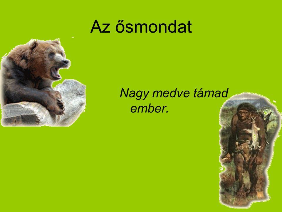 Az ősmondat Nagy medve támad ember. Az ősmondat