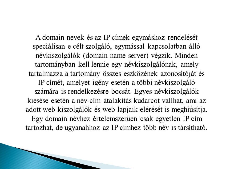 A domain nevek és az IP címek egymáshoz rendelését speciálisan e célt szolgáló, egymással kapcsolatban álló névkiszolgálók (domain name server) végzik