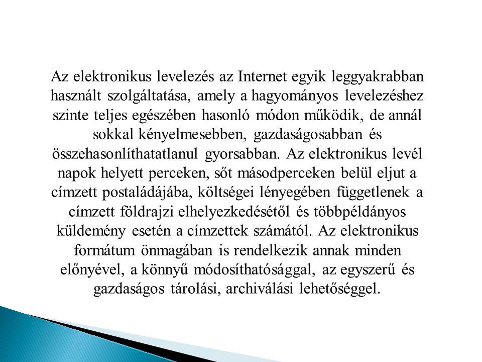 Az elektronikus levelezés az Internet egyik leggyakrabban használt szolgáltatása, amely a hagyományos levelezéshez szinte teljes egészében hasonló mód