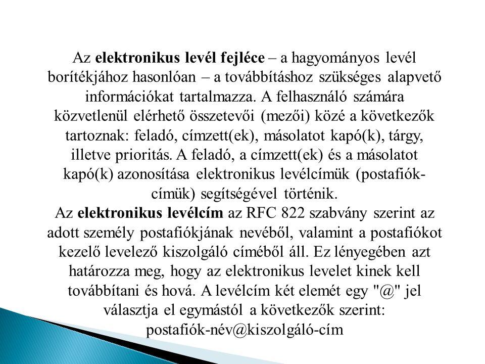 Az elektronikus levél fejléce – a hagyományos levél borítékjához hasonlóan – a továbbításhoz szükséges alapvető információkat tartalmazza. A felhaszná