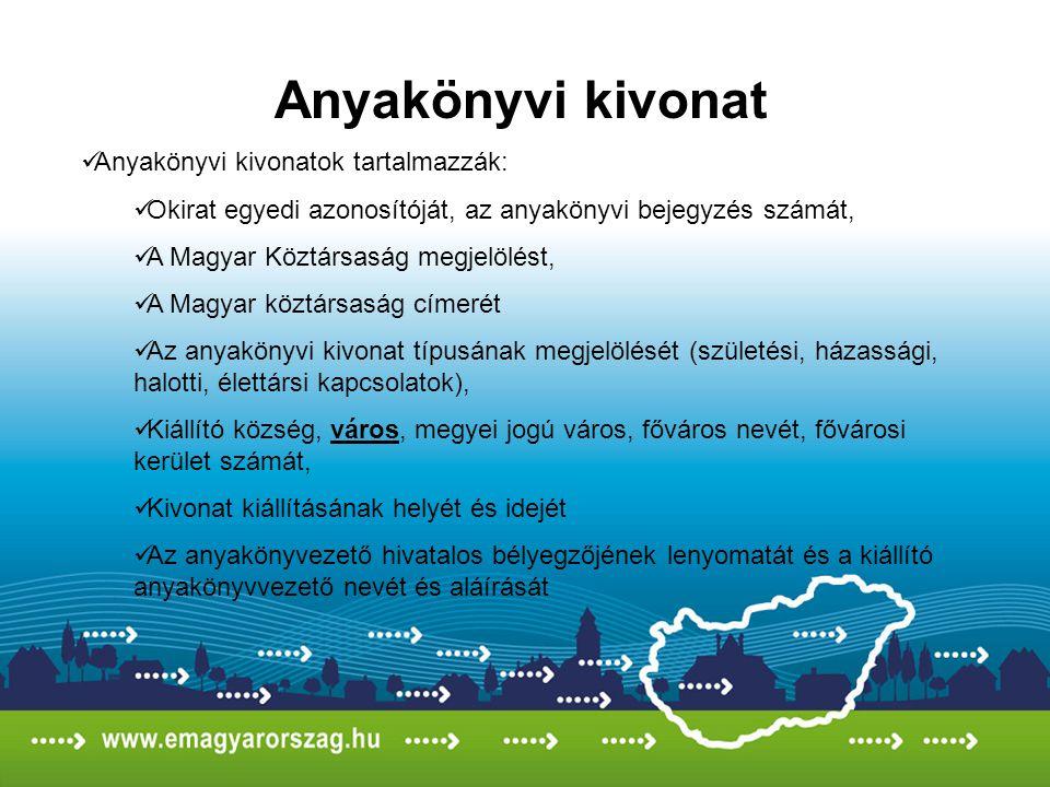 Anyakönyvi kivonat Anyakönyvi kivonatok tartalmazzák: Okirat egyedi azonosítóját, az anyakönyvi bejegyzés számát, A Magyar Köztársaság megjelölést, A