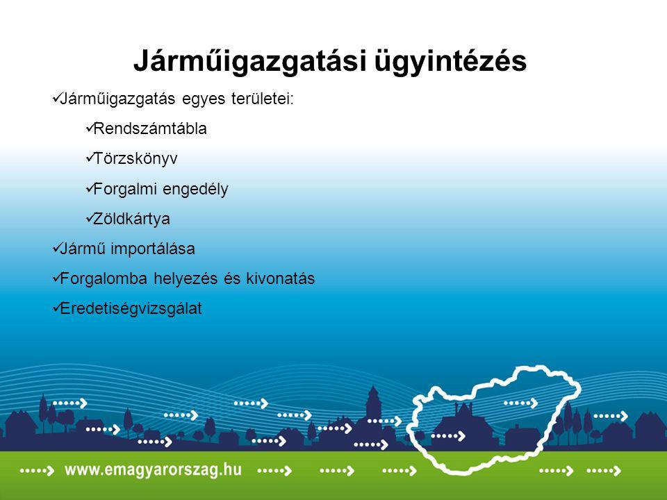 Járműigazgatási ügyintézés Járműigazgatás egyes területei: Rendszámtábla Törzskönyv Forgalmi engedély Zöldkártya Jármű importálása Forgalomba helyezés
