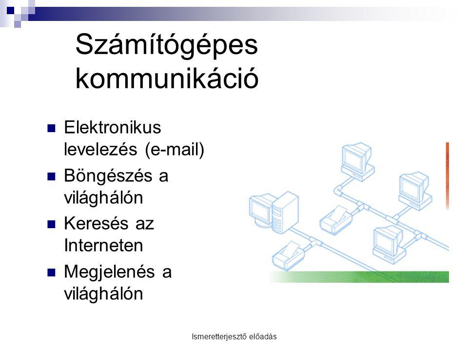 Számítógépes kommunikáció Elektronikus levelezés (e-mail) Böngészés a világhálón Keresés az Interneten Megjelenés a világhálón Ismeretterjesztő előadá