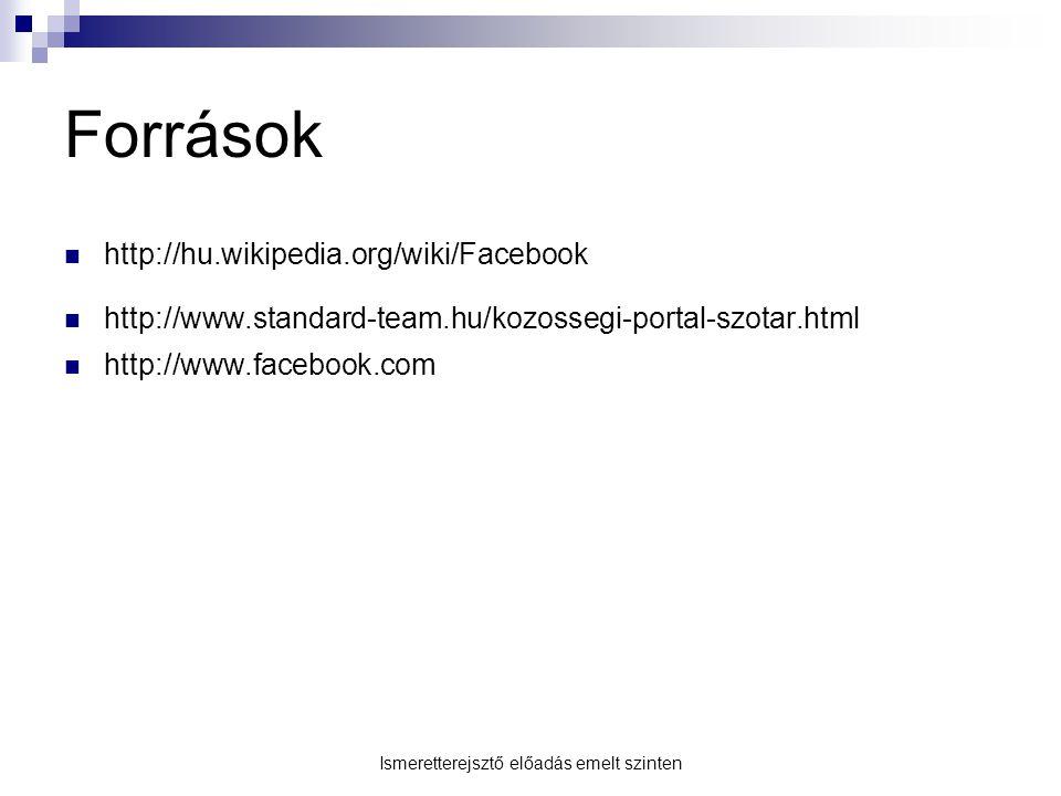 Források http://hu.wikipedia.org/wiki/Facebook http://www.standard-team.hu/kozossegi-portal-szotar.html http://www.facebook.com Ismeretterejsztő előad