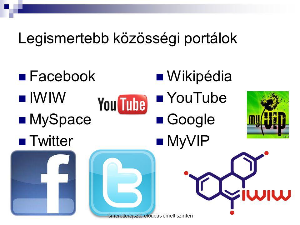 Legismertebb közösségi portálok Facebook IWIW MySpace Twitter Wikipédia YouTube Google MyVIP Ismeretterejsztő előadás emelt szinten