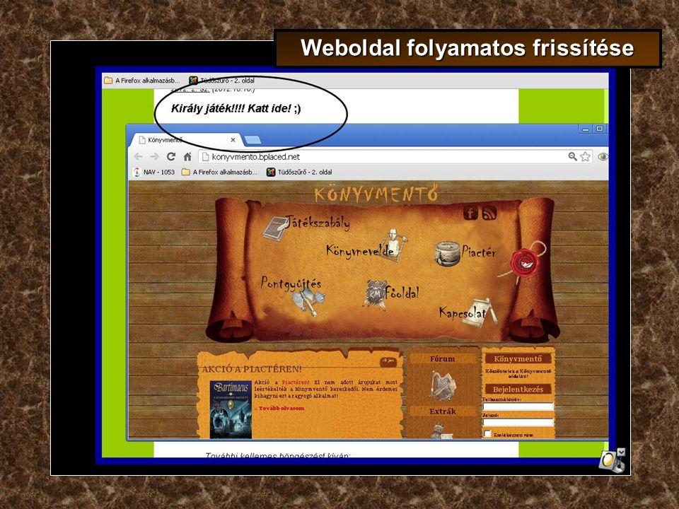 Weboldal folyamatos frissítése