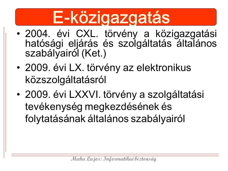 Muha Lajos: Informatikai biztonság E-közigazgatás 2004. évi CXL. törvény a közigazgatási hatósági eljárás és szolgáltatás általános szabályairól (Ket.