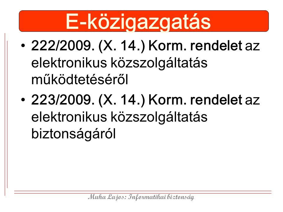 Muha Lajos: Informatikai biztonság E-közigazgatás 222/2009. (X. 14.) Korm. rendelet az elektronikus közszolgáltatás működtetéséről 223/2009. (X. 14.)