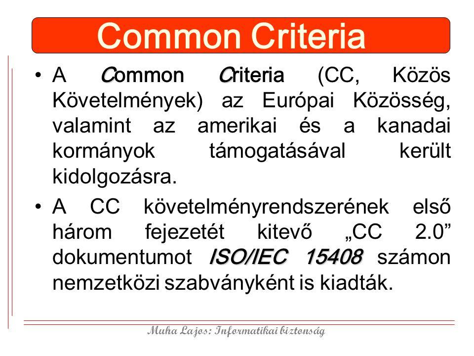 Muha Lajos: Informatikai biztonság Common Criteria CCA Common Criteria (CC, Közös Követelmények) az Európai Közösség, valamint az amerikai és a kanadai kormányok támogatásával került kidolgozásra.
