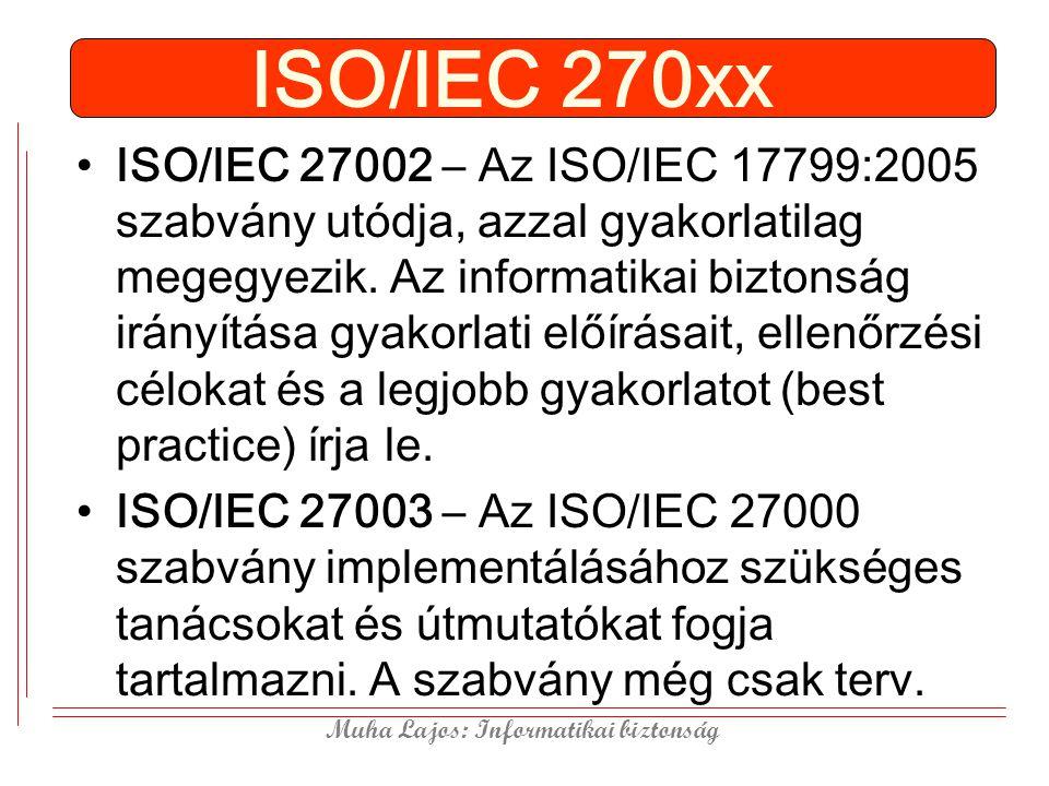 Muha Lajos: Informatikai biztonság ISO/IEC 270xx ISO/IEC 27002 – Az ISO/IEC 17799:2005 szabvány utódja, azzal gyakorlatilag megegyezik. Az informatika