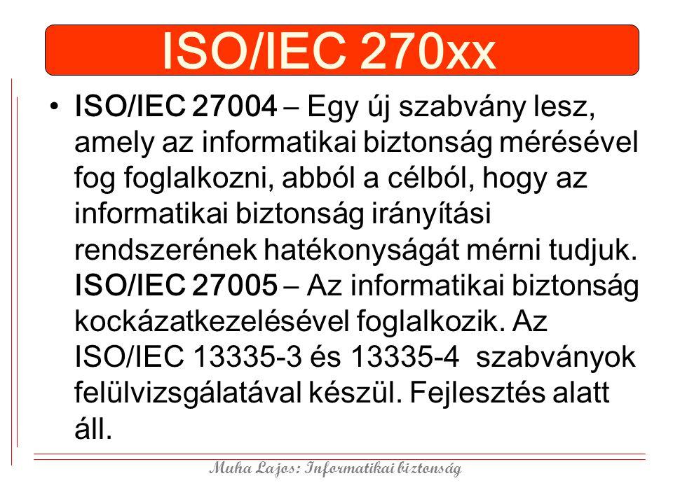 Muha Lajos: Informatikai biztonság ISO/IEC 270xx ISO/IEC 27004 – Egy új szabvány lesz, amely az informatikai biztonság mérésével fog foglalkozni, abból a célból, hogy az informatikai biztonság irányítási rendszerének hatékonyságát mérni tudjuk.