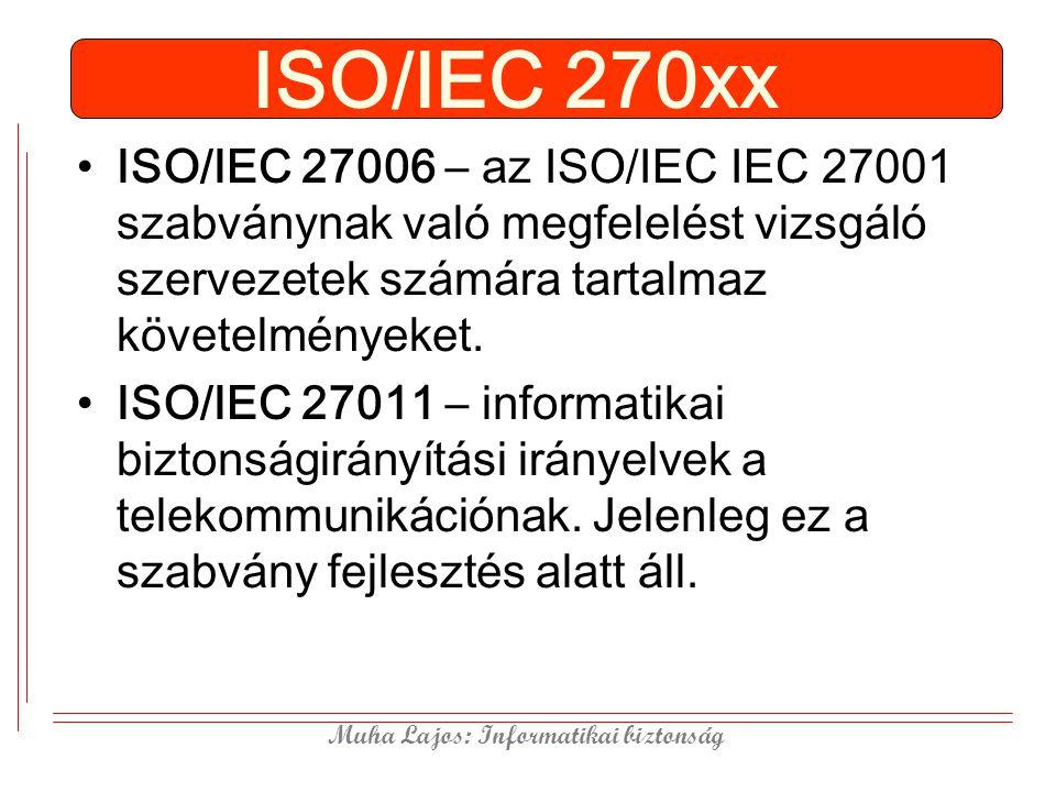 Muha Lajos: Informatikai biztonság ISO/IEC 270xx ISO/IEC 27006 – az ISO/IEC IEC 27001 szabványnak való megfelelést vizsgáló szervezetek számára tartalmaz követelményeket.