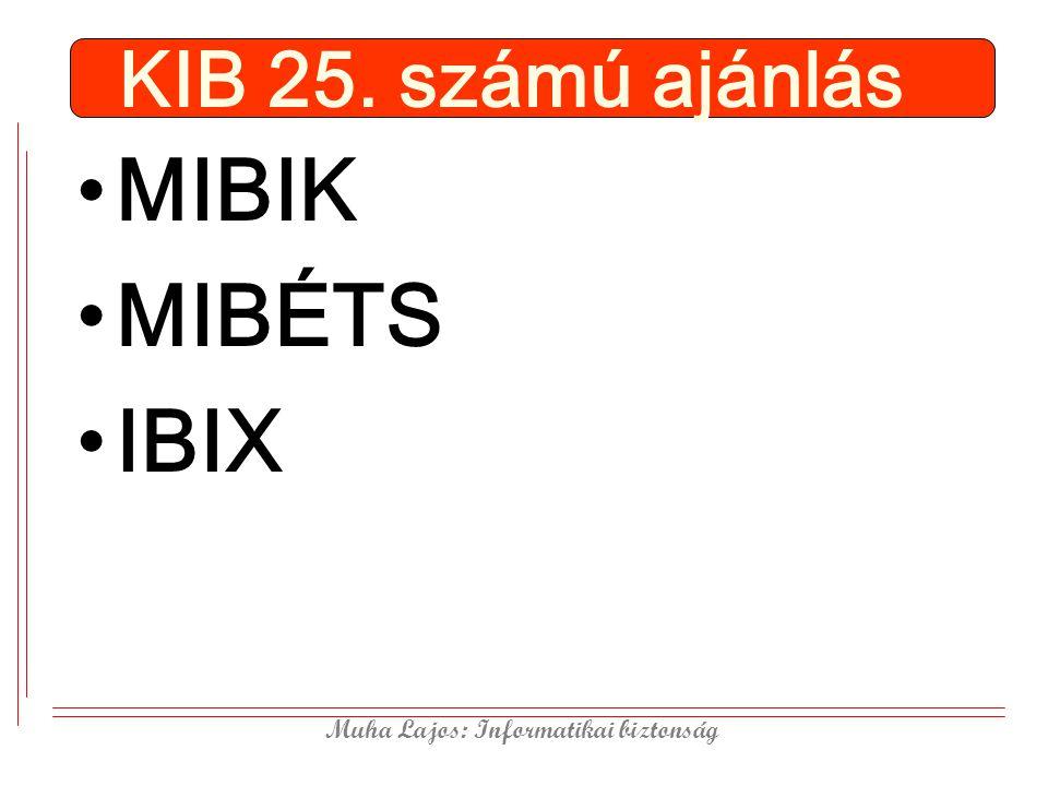 Muha Lajos: Informatikai biztonság KIB 25. számú ajánlás MIBIK MIBÉTS IBIX