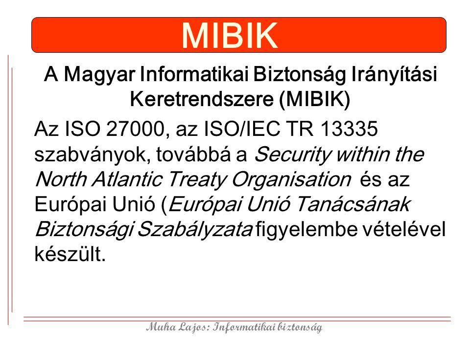 Muha Lajos: Informatikai biztonság MIBIK A Magyar Informatikai Biztonság Irányítási Keretrendszere (MIBIK) Az ISO 27000, az ISO/IEC TR 13335 szabványo