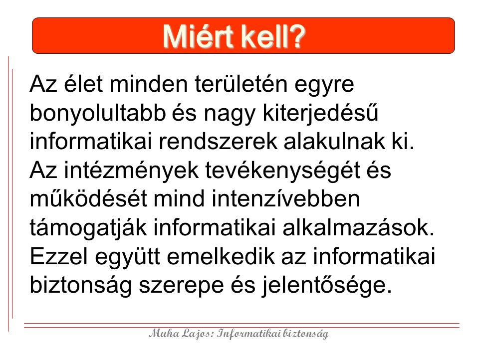 Muha Lajos: Informatikai biztonság MIBÉTS Magyar Informatika Biztonság Értékelési és Tanúsítási Séma A Common Critéria egyezményhez (2003.