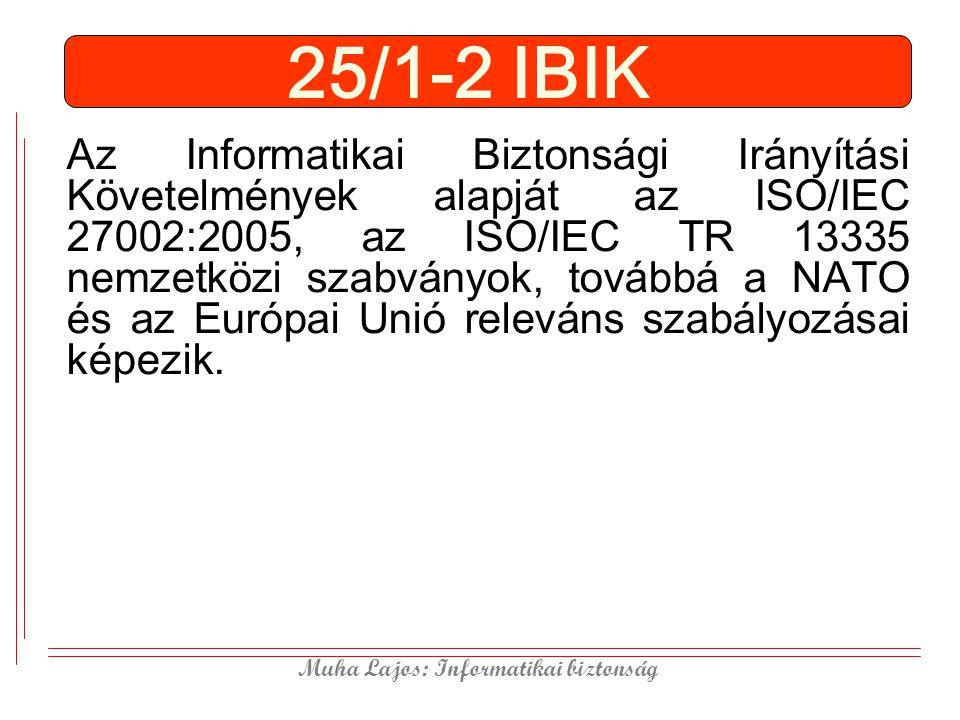 Muha Lajos: Informatikai biztonság 25/1-2 IBIK Az Informatikai Biztonsági Irányítási Követelmények alapját az ISO/IEC 27002:2005, az ISO/IEC TR 13335 nemzetközi szabványok, továbbá a NATO és az Európai Unió releváns szabályozásai képezik.