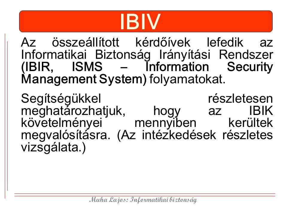 Muha Lajos: Informatikai biztonság IBIV Az összeállított kérdőívek lefedik az Informatikai Biztonság Irányítási Rendszer (IBIR, ISMS – Information Security Management System) folyamatokat.