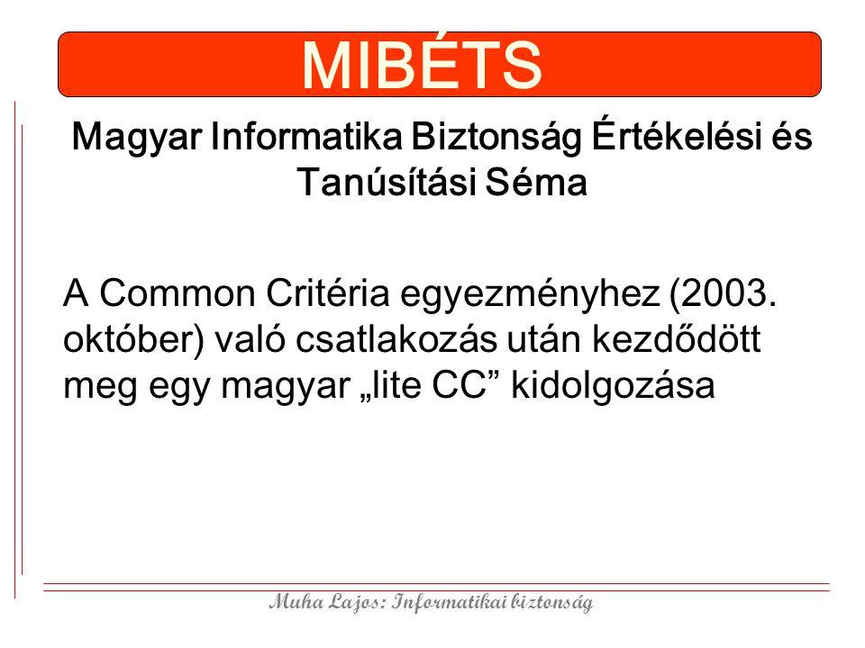 Muha Lajos: Informatikai biztonság MIBÉTS Magyar Informatika Biztonság Értékelési és Tanúsítási Séma A Common Critéria egyezményhez (2003. október) va