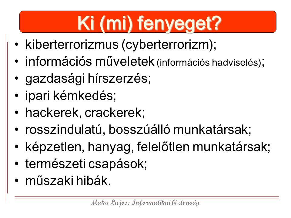 Muha Lajos: Informatikai biztonság Ki (mi) fenyeget? kiberterrorizmus (cyberterrorizm); információs műveletek (információs hadviselés) ; gazdasági hír