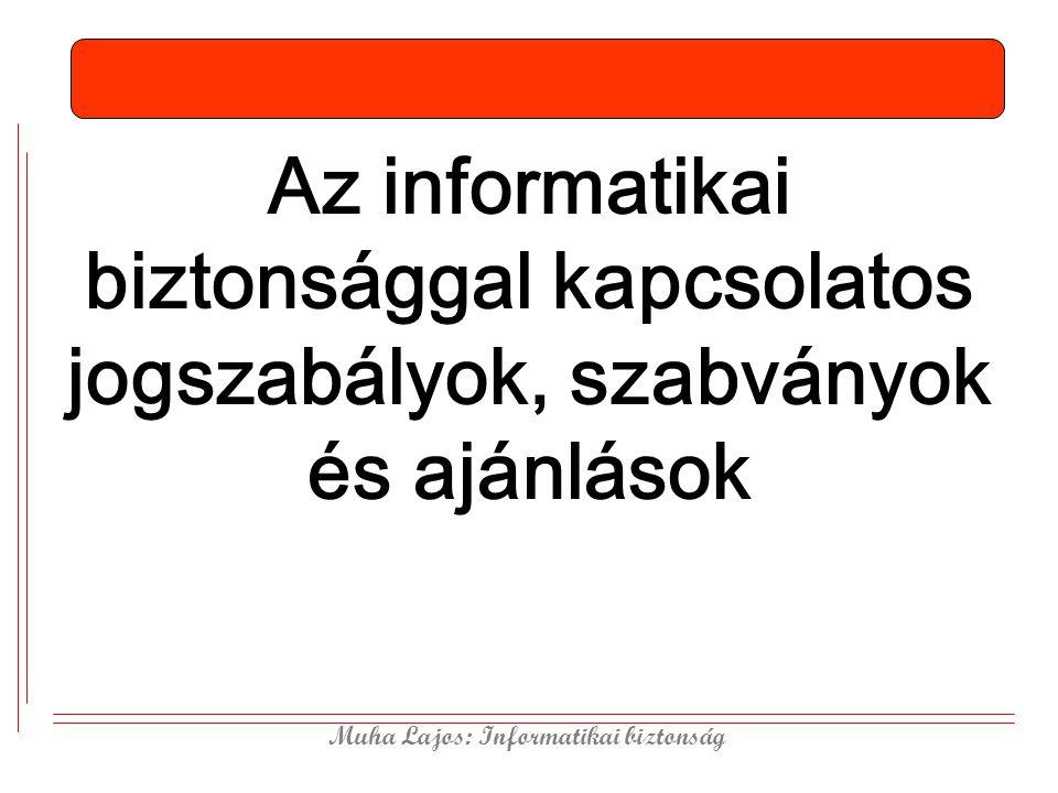 Muha Lajos: Informatikai biztonság Az informatikai biztonsággal kapcsolatos jogszabályok, szabványok és ajánlások