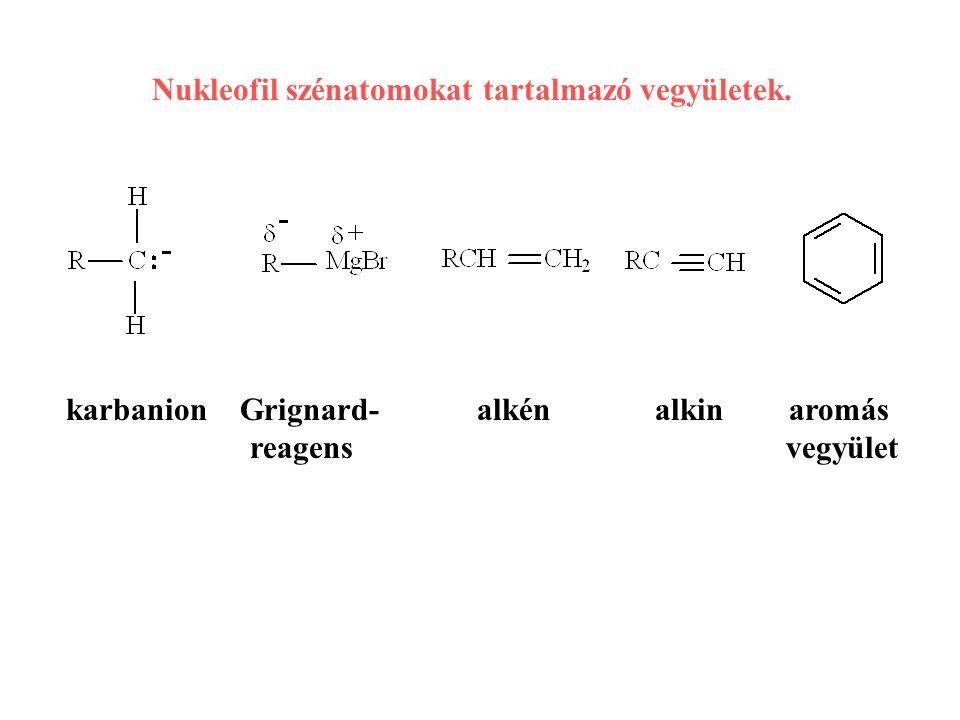 karbanion Grignard- alkén alkin aromás reagens vegyület Nukleofil szénatomokat tartalmazó vegyületek.