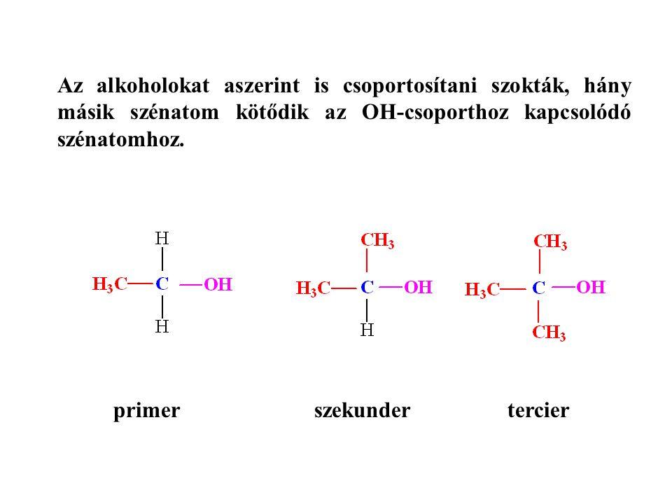 Az alkoholokat aszerint is csoportosítani szokták, hány másik szénatom kötődik az OH-csoporthoz kapcsolódó szénatomhoz. primer szekunder tercier