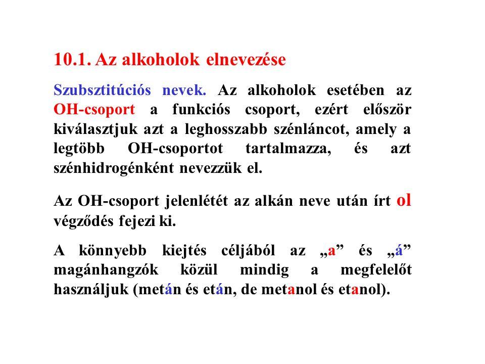 10.1. Az alkoholok elnevezése Szubsztitúciós nevek. Az alkoholok esetében az OH-csoport a funkciós csoport, ezért először kiválasztjuk azt a leghossza