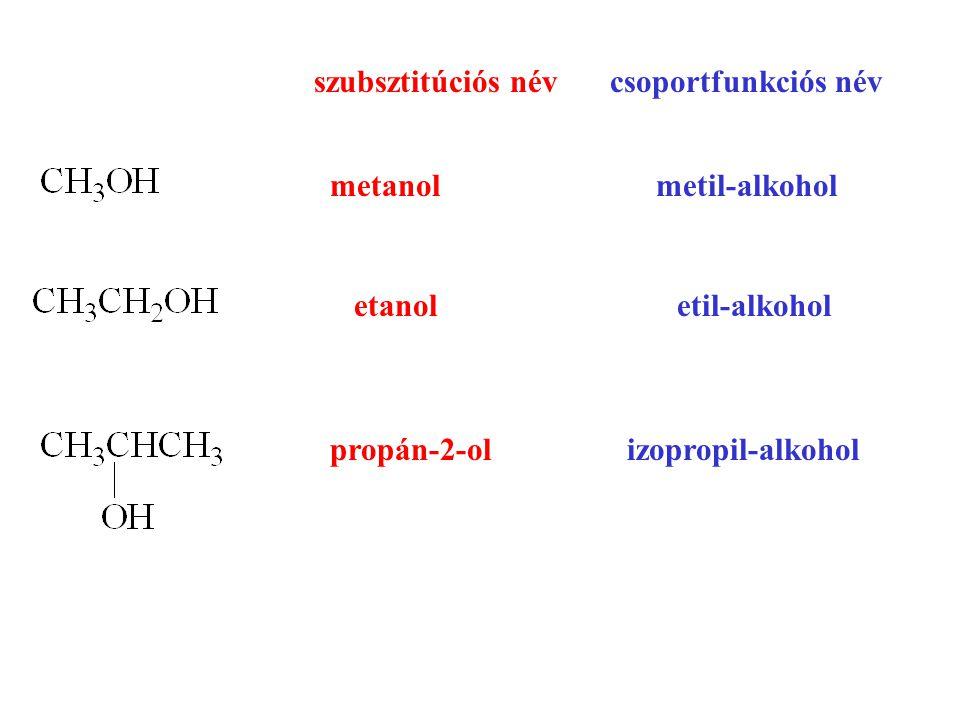 szubsztitúciós névcsoportfunkciós név metanol metil-alkohol etanol etil-alkohol propán-2-ol izopropil-alkohol