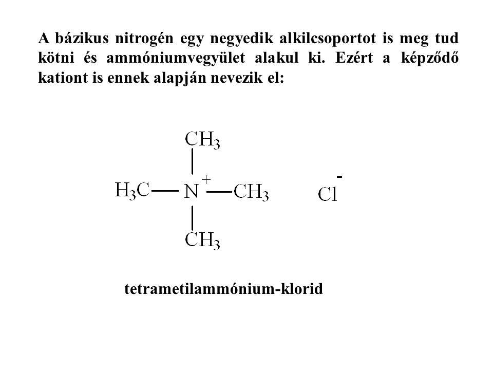 A bázikus nitrogén egy negyedik alkilcsoportot is meg tud kötni és ammóniumvegyület alakul ki. Ezért a képződő kationt is ennek alapján nevezik el: te