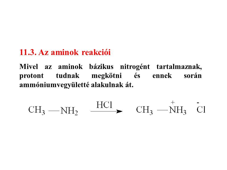 11.3. Az aminok reakciói Mivel az aminok bázikus nitrogént tartalmaznak, protont tudnak megkötni és ennek során ammóniumvegyületté alakulnak át.