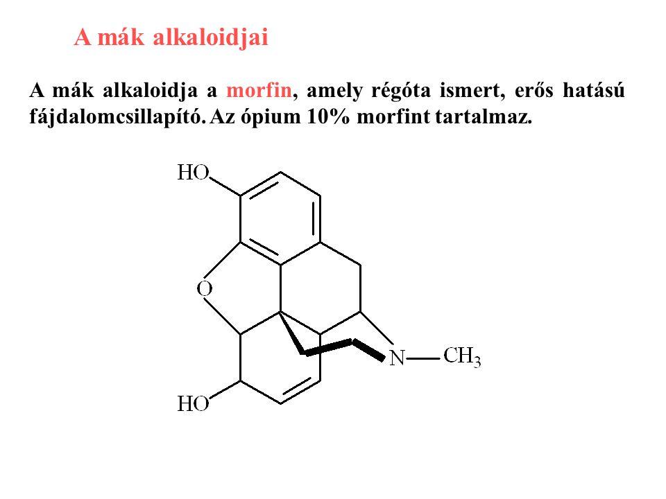 A mák alkaloidjai A mák alkaloidja a morfin, amely régóta ismert, erős hatású fájdalomcsillapító. Az ópium 10% morfint tartalmaz.