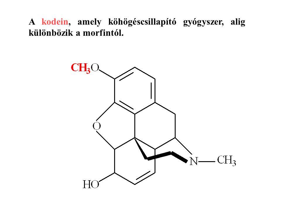 A kodein, amely köhögéscsillapító gyógyszer, alig különbözik a morfintól.