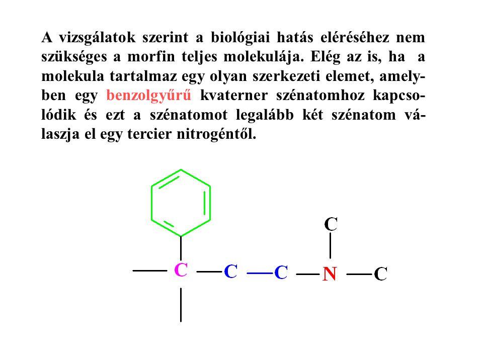 A vizsgálatok szerint a biológiai hatás eléréséhez nem szükséges a morfin teljes molekulája. Elég az is, ha a molekula tartalmaz egy olyan szerkezeti