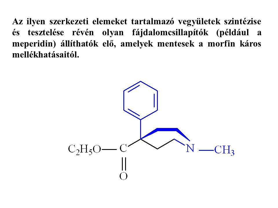Az ilyen szerkezeti elemeket tartalmazó vegyületek szintézise és tesztelése révén olyan fájdalomcsillapítók (például a meperidin) állíthatók elő, amel