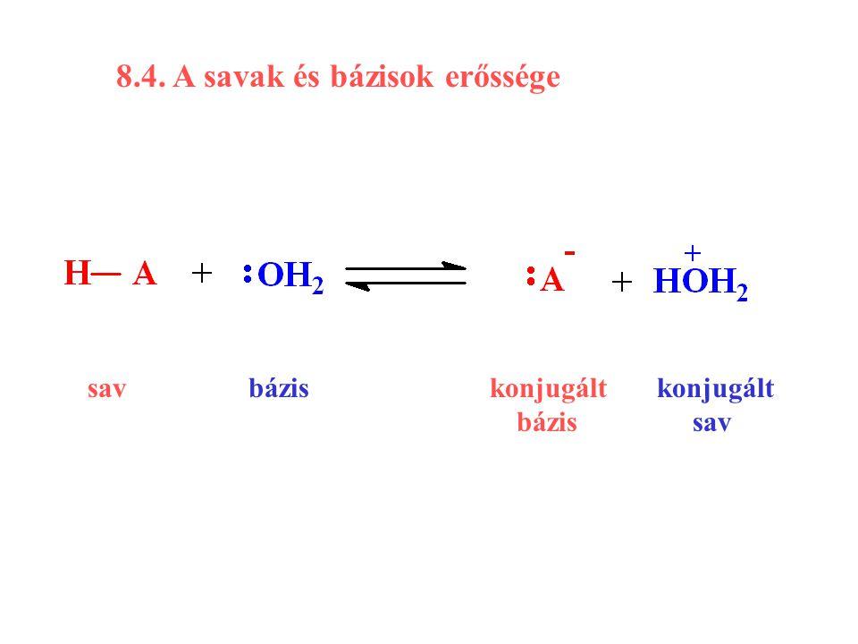 sav bázis konjugált konjugált bázis sav 8.4. A savak és bázisok erőssége