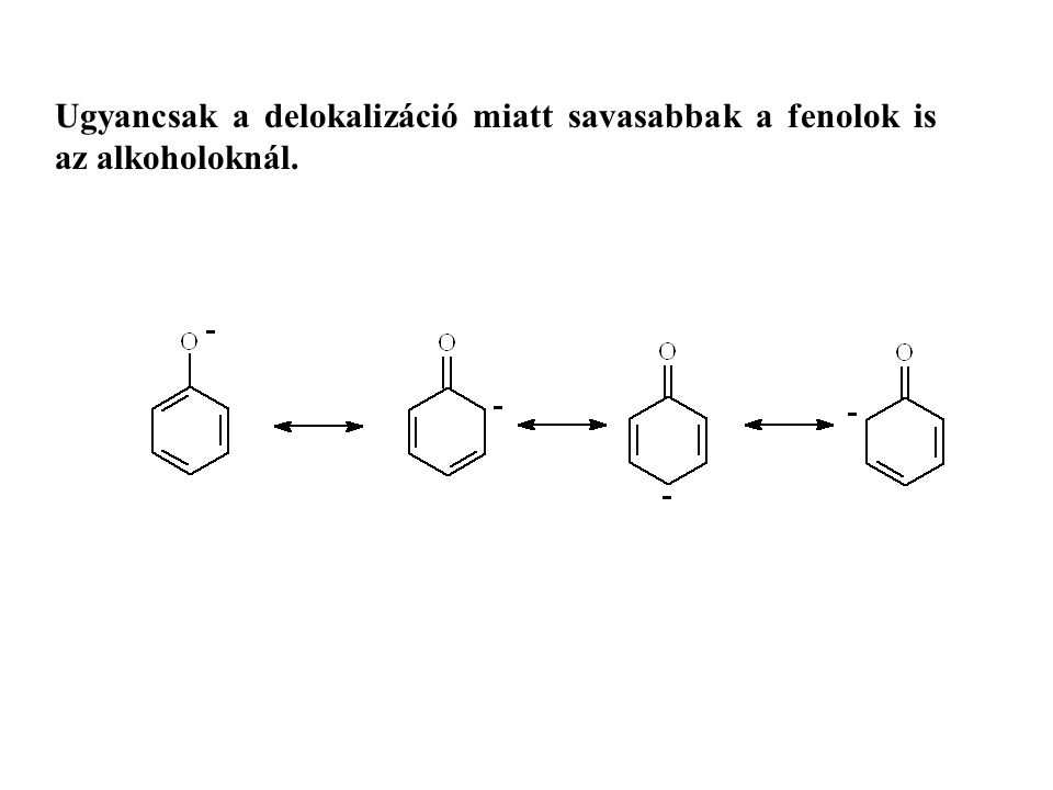Ugyancsak a delokalizáció miatt savasabbak a fenolok is az alkoholoknál.