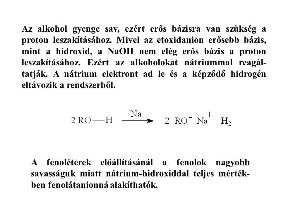 Az alkohol gyenge sav, ezért erős bázisra van szükség a proton leszakításához. Mivel az etoxidanion erősebb bázis, mint a hidroxid, a NaOH nem elég er