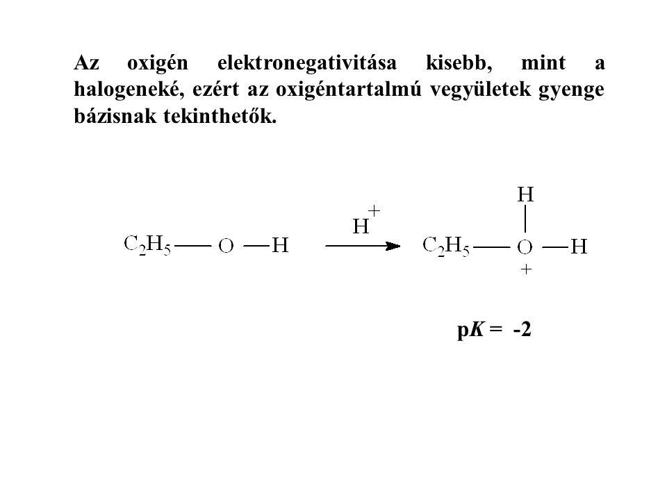 Az oxigén elektronegativitása kisebb, mint a halogeneké, ezért az oxigéntartalmú vegyületek gyenge bázisnak tekinthetők. pK = -2