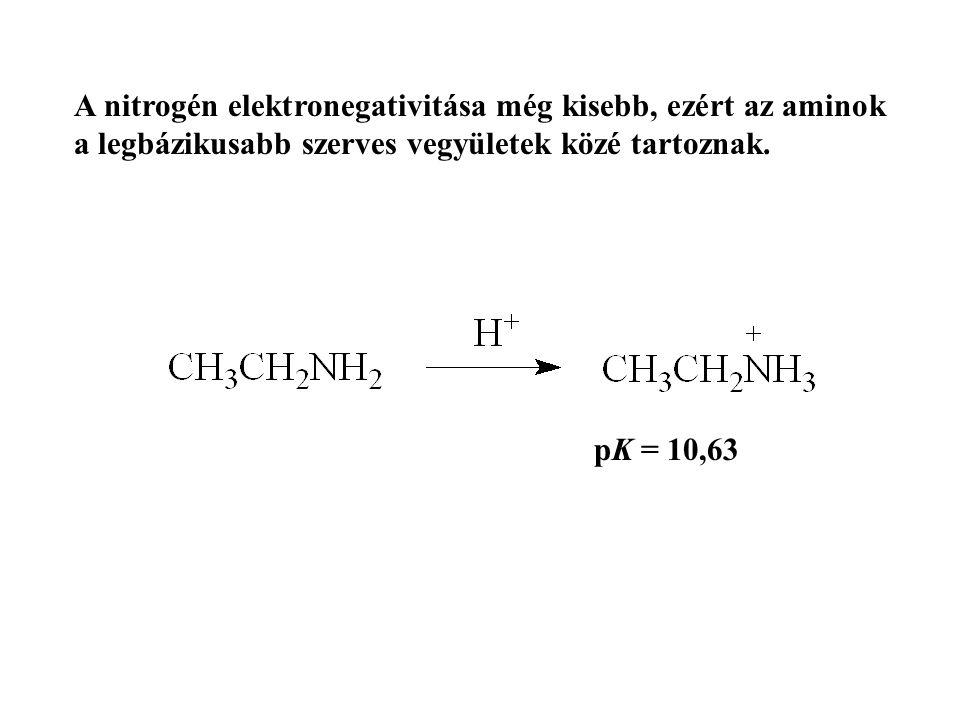 A nitrogén elektronegativitása még kisebb, ezért az aminok a legbázikusabb szerves vegyületek közé tartoznak. pK = 10,63